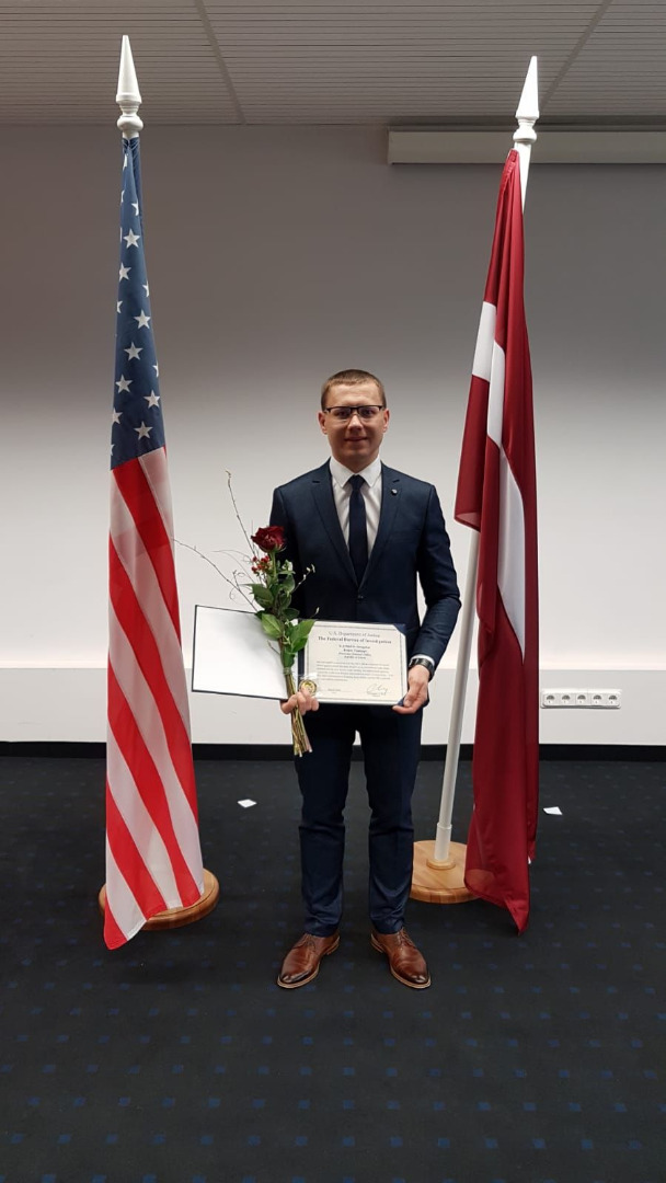 FBI Legal Attache Office in Riga presented a Certificate to Mr. Arturs Tomings, prosecutor of the International Cooperation Department of the Prosecutor General's Office, in recognition for his outstanding work